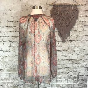 Lucky Brand Tops - Lucky Brand Sheer Long Sleeve Tunic Size Large